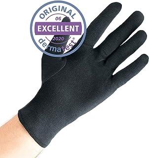 Dermatest: Eccellente - Well B4® Care Guanti di cotone, guanto in stoffa, morbidi guanti in maglia, 3 paia, nero, taglia XL