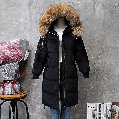 GUXIU Manteau Long en Duvet de Manteau Chaud en Fourrure Blanche d'oie d'hiver de Veste de Femme