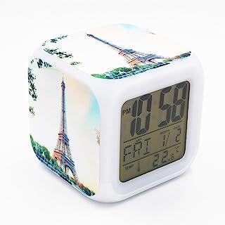 Boyan Led Alarm Clock France Paris Eiffel Tower Design Creative Desk Table Clock Glowing..