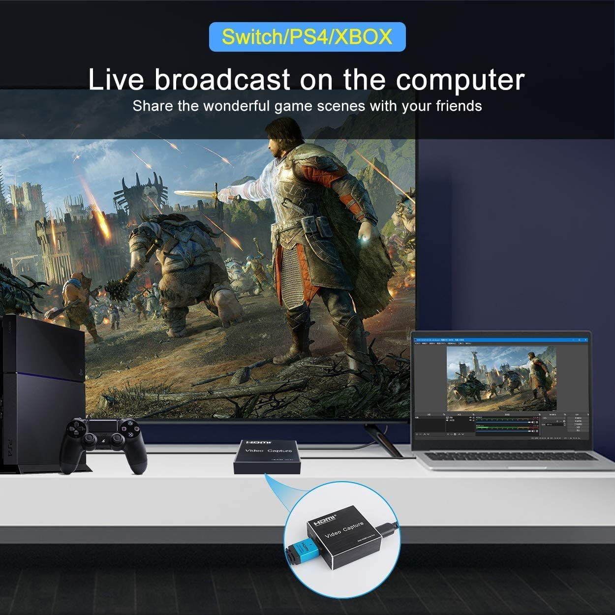 Audio Video Capture Cards, Game Capture Device HDMI to USB 2.0, HD 1080p Video Record Directly to Computer for Gaming,Teaching, Video Conference, Streaming, Teaching, Live Broadcasting