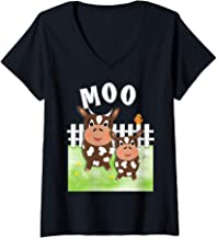 Womens Cartoon Farm Animals Cute Fun Moo Cow Graphic   V-Neck T-Shirt