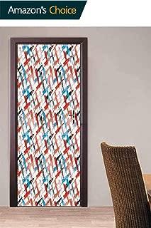 Door Wallpaper Murals, Grunge Graffiti Pattern Door Stickers 3D Door Wallpaper Sticker for Home Decoration, 30.3W x 78.7H Inches
