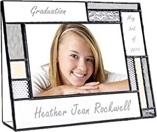 Graduation Picture Frames Custom Engraved Glass 4x6 Horizontal Photo Class of 2019 College High School Middle Graduate Grey and Antique Yellow J Devlin Pic 392-46H EP612