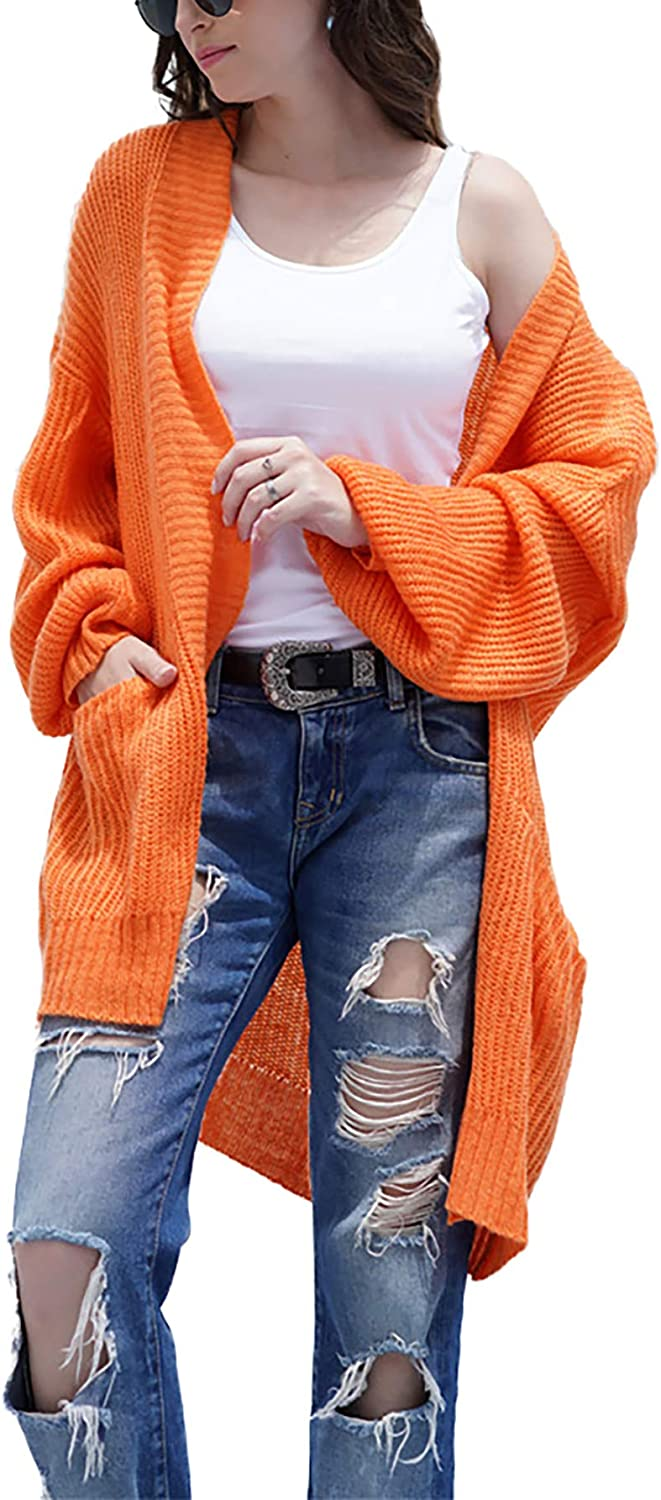 TOTREND Women's Casual Full Lantern Sleeve Soft Slouchy Cardigan Sweater with Side Pockets Loose Fit Solid Chunky Knit Blouse