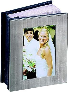 """Contemporary Home Living 6.5"""" Silver Rectangular Frame Design Cover Photo Album"""