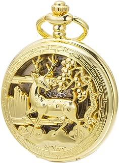 SIBOSUN Vintage Pocket Watch Mechanical Double Cover Skeleton Christmas Reindeer Deer Men Women, Gold