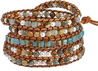 Plumiss Handmade Natural Stone Crystal Bead Mixed Wrap Bracelet Jewelry