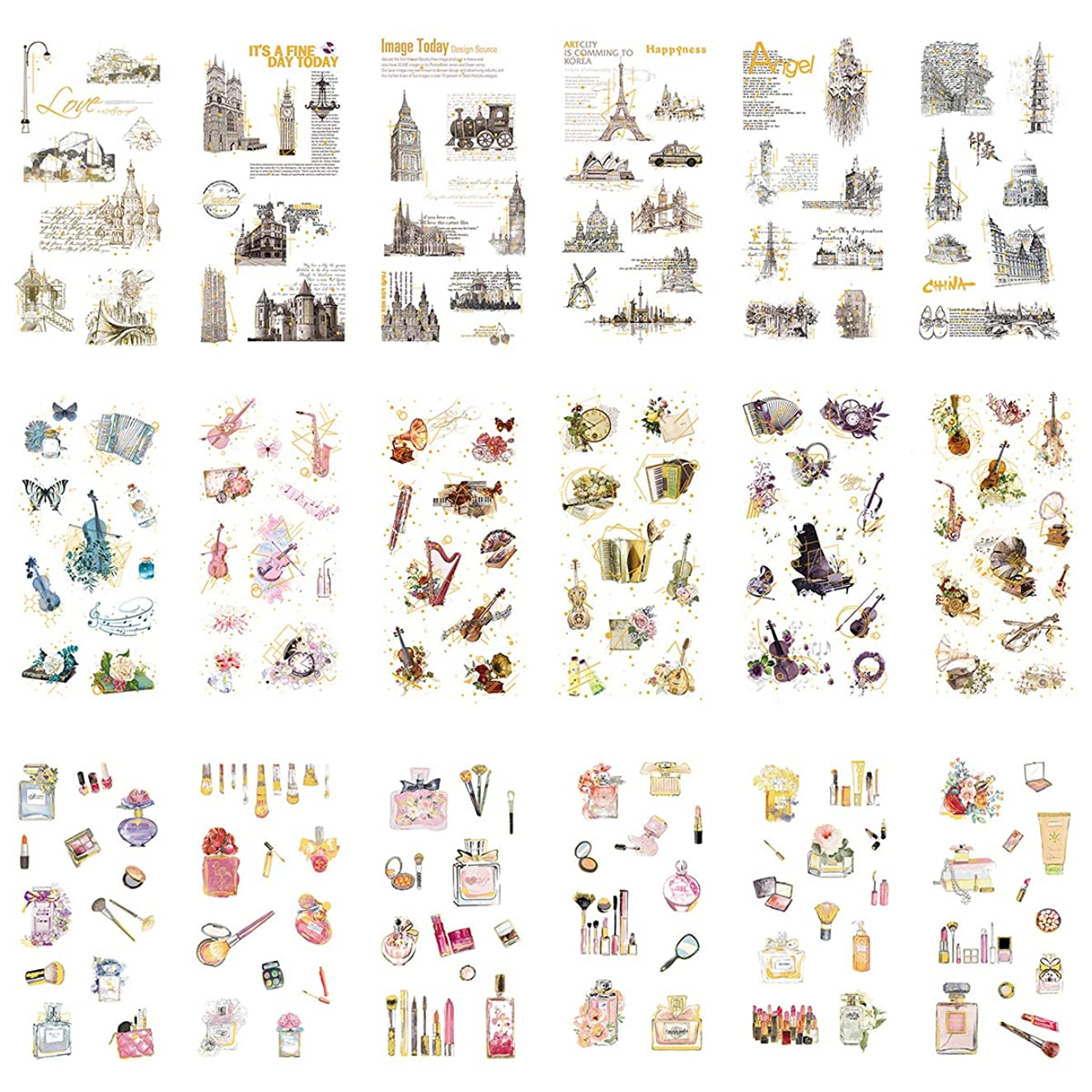 Bronzing Stationery Sticker Set Famous Building Tower Musical Instrument Guitar Violin Accordion Piano Makeup Tool Scrapbooking Decorative Stickers Diary Book Notebook Planner Journal DIY Label (A)