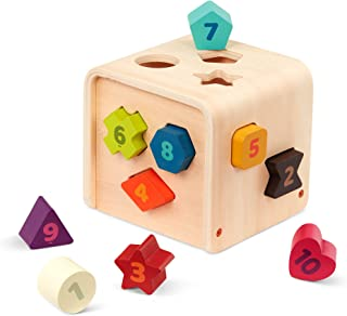 Battat – Shape Sorter for Toddlers, Kids – Wooden Learning Cube – Sorting Toy – 10 Colorful Wood Shapes with Numbers – Cou...