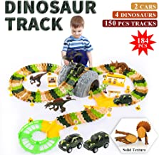 TEMI Upgraded 150 PCS Dinosaur Race Track Toys Set with 4 Jurassic Solid Dino Figure, 2 B/O Race Car Vehicle, DIY Assemble Flexible Train Track Play Sets for Kids, Boys & Girls Ages 3+