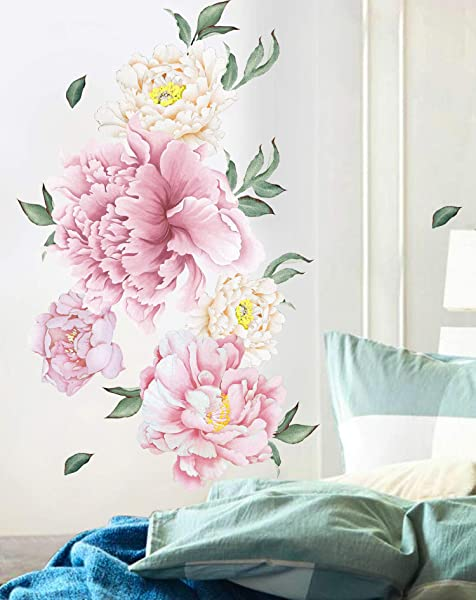 GSS Designs Floral Peony Wall Decal Peony Bouquet Flowers Removable Peel And Stick Wall Sticker 16x40 Inch For Nursery Bedroom Living Room Wall Decor WS 001