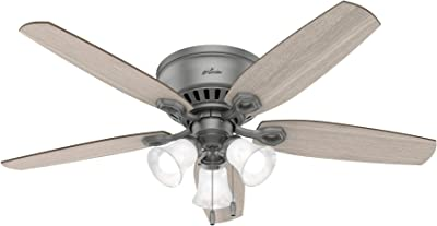 """Hunter Fan Company 51113 Builder Indoor Low Profile Ceiling Fan with LED Light and Pull Chain Control, 52"""", Matte Silver finish"""