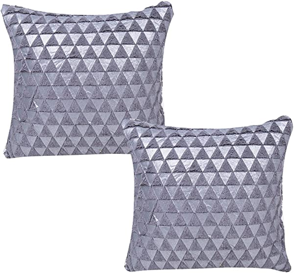 WOMHOPE Set Of 2 Foil Print Triangle Velvet Soft Plush Decorative Throw Pillow Covers Cotton Linen Cushion Covers Decorative Throw Pillow Case 17 X 17 Inch Grey Set Of 2