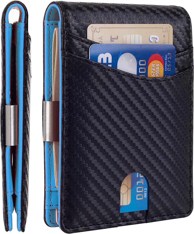 Mutural Minimalist Slim Wallet for Men, Premium Leather Wallet with Money Clip, RFID Blocking Front Pocket Stylish Bifold Wallet (Black & Blue)