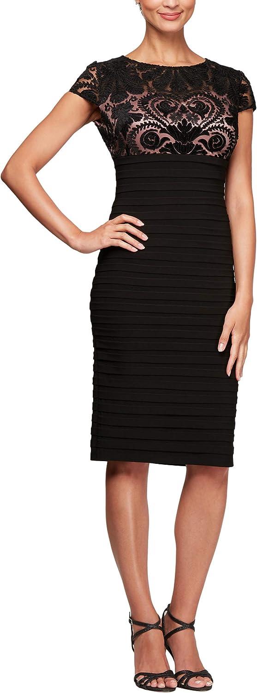 Alex Evenings Women's Short Sheath Dress Cap Sleeve (Petite and Regular Sizes)