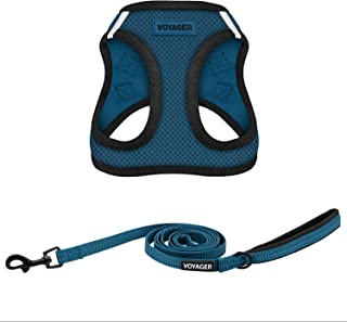 Voyager Step-in Air All Weather Mesh Harness and Reflective Dog 5 ft Leash Combo with Neoprene Handle, Supports Small, Med...