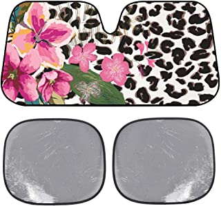 BDK USA Flower Leopard Sunshade - Pink Hibiscus Orchid - Folding Accordion with Static Cling Sun Shade