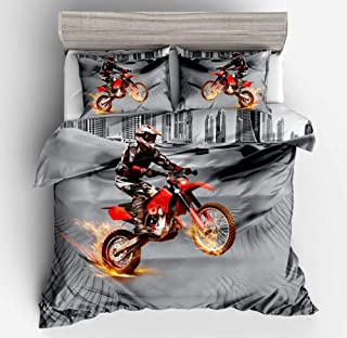 Vichonne Red Dirt Bike Bedding Sets Queen Size,3 Piece Motocross Extreme Sports Theme Duvet Cover Sets with Pillowcases for Teens Boys Girls Bedroom Decorative,No Comforter/Filling