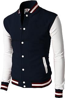 H2H Mens Casual Slim Fit Varsity Baseball Jackets Bomber Cotton Lightweight Coats