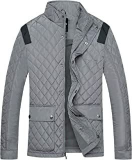 Wantdo Men's Quilted Puffer Jacket Warm Windproof Stand Collar Diamond Coat