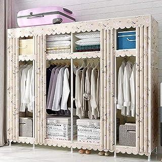 HWG Armoire Portable Armoires en Tissu Penderie Tuyau en Acier épaissi De 25 Mm avec 4 Tringles à Vêtements Et 8 étagères ...