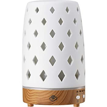 Serene House Ultrasonic Aroma Diffuser Diamond Scentilizer White Light Wood Base