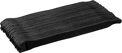 Starument HY00106 Hook and Loop Cable Ties, Premium Industrial Grade and Reusable Fastening Cord Straps for Home, Office and Outdoors, Black, 50 Piece