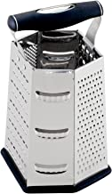 HIC Classic Box Cheese Grater and Slicer, Stainless Steel with Rubber Feet, 6-Sided, 9.25-Inch
