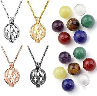 7 Chakra Crystal Healing Stones Balls Necklace Reiki Yoga Meditation Locket Pendant - Twisted Ball(4 Pcs Set)