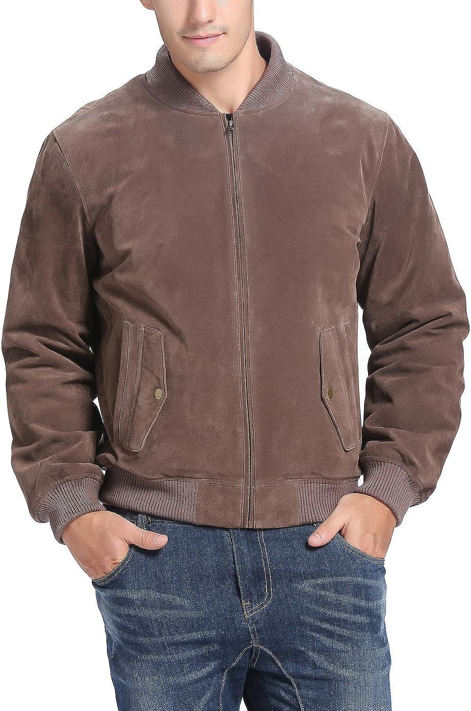 BGSD Men's Urban Varsity Baseball Leather Bomber Jacket (Regular and Big & Tall)