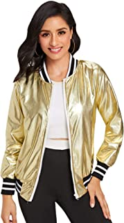 Verdusa Women's PU Leather Contrast Stripe Metallic Bomber Jacket
