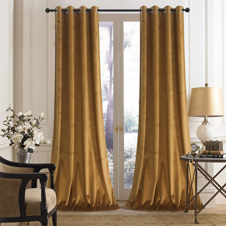 Roslynwood Mustard Velvet Curtains Room Darkening for Roo Sale SALE% OFF Living Dedication
