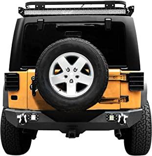 oEdRo Rear Bumper Combo Compatible for 07-18 Jeep Wrangler JK & Unlimited with 2