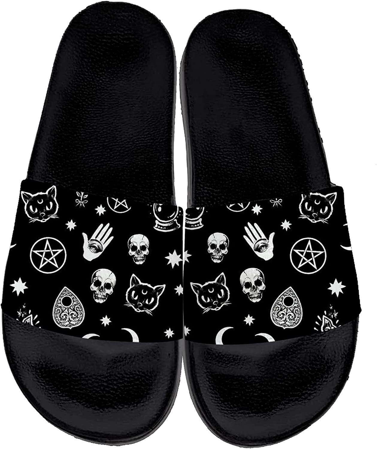 Womens Mens Ouija Board Slides Sandals Casual Comfort Flat Sandals Non-Slip Beach Slippers Shoes Gifts for Friends