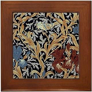 CafePress William Morris Iris Design Framed Tile, Decorative Tile Wall Hanging