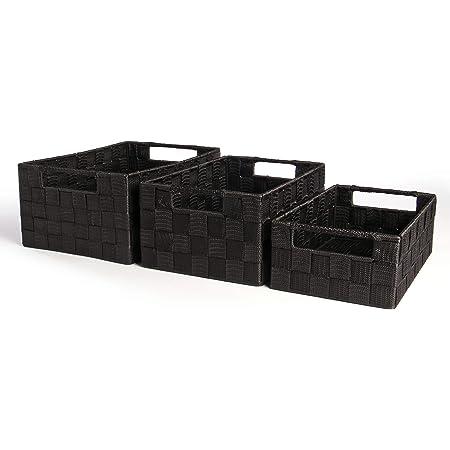 Paniers De Rangement En Nylon Noir Grand Moyen Et Petit - Paquet De 3 | Pour placards étagères Rangement de salle de bain | Pukkr