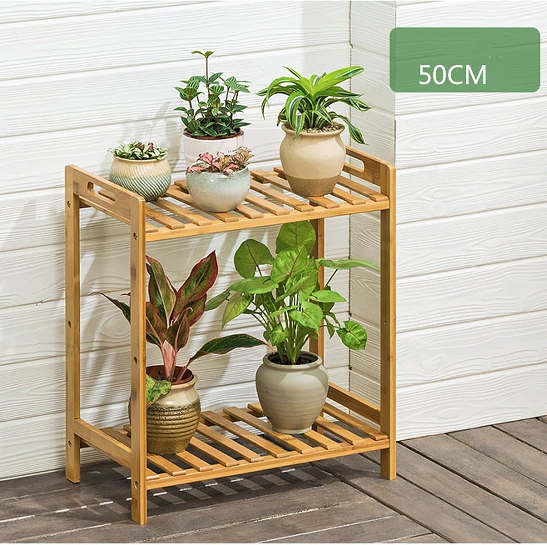 Art Home Store Flower Shelf Multi-Layer Floor-Standing Living Room Solid Wood Balcony Fleshy Green Dill Flowerpot Indoor Province Space (Size   502552cm)
