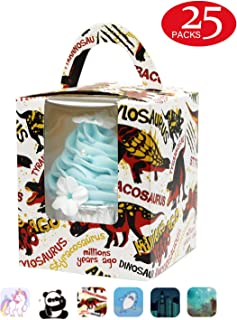 Yotruth Dinosuar Cupcake Boxes For Boys Tyrannosaurus Rex and Triceratops Bakery Gift Containers 25 Pack Cupcake Boxes(Choice Series)