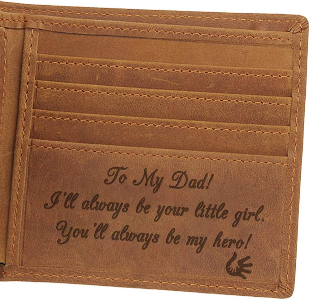 Custom Engraved Leather Men Wallet - Customized Father's Wallets - Personalized Unique Gift For Dad As Birthday, Christmas and Father's Day Gift