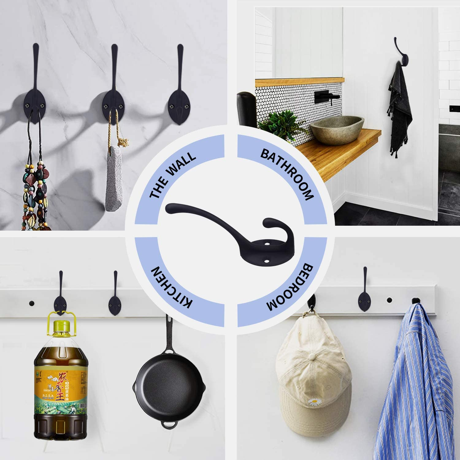 Hat and More Mug Cup Black Scarf Robe Bag Towel Include 8 Pieces Screws Cap 2 Pack Matte Black Coat Hooks Heavy Duty Dual Coat Hooks Wall Mounted Utility Black Not Rust Hooks for Coat Key
