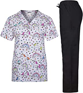 MedPro Women's Printed Medical Scrub Set Mock Wrap Top and Pants