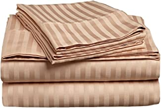 Superior 300 Thread Count 100% Premium Combed Cotton, 4-Piece Bed Sheet Set, Deep Pocket, Single Ply, Sateen Stripe, King - Beige
