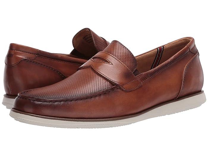 Florsheim  Atlantic Moc Toe Penny Loafer (Cognac Smooth/White Sole) Mens Shoes
