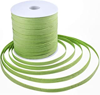 Whaline 229 Yards Raffia Paper Ribbon Craft Packing Paper Twine for Festival Gifts, DIY Decoration and Weaving, 1/4 inch Width (Green)