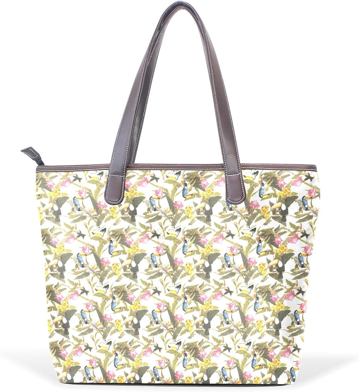 COOSUN Frauen Vogel-Kunst PU-Leder Grosse Handtasche Griff Umhängetasche L (33x45x13) cm muticolour B074124Z71  Ausgezeichnet