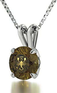 925 Sterling Silver Scorpio Necklace Zodiac Pendant for Birthdays 24th October to 22nd November 24k Gold Inscribed with Star Sign and Symbol on Solitaire Set Swarovski Crystal Stone, 18