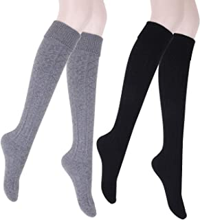 Thick Wool Woollen Cashmere Thigh High Knee Socks Warm Stockings Knit Sweater Thickening Leg Warmers FS03