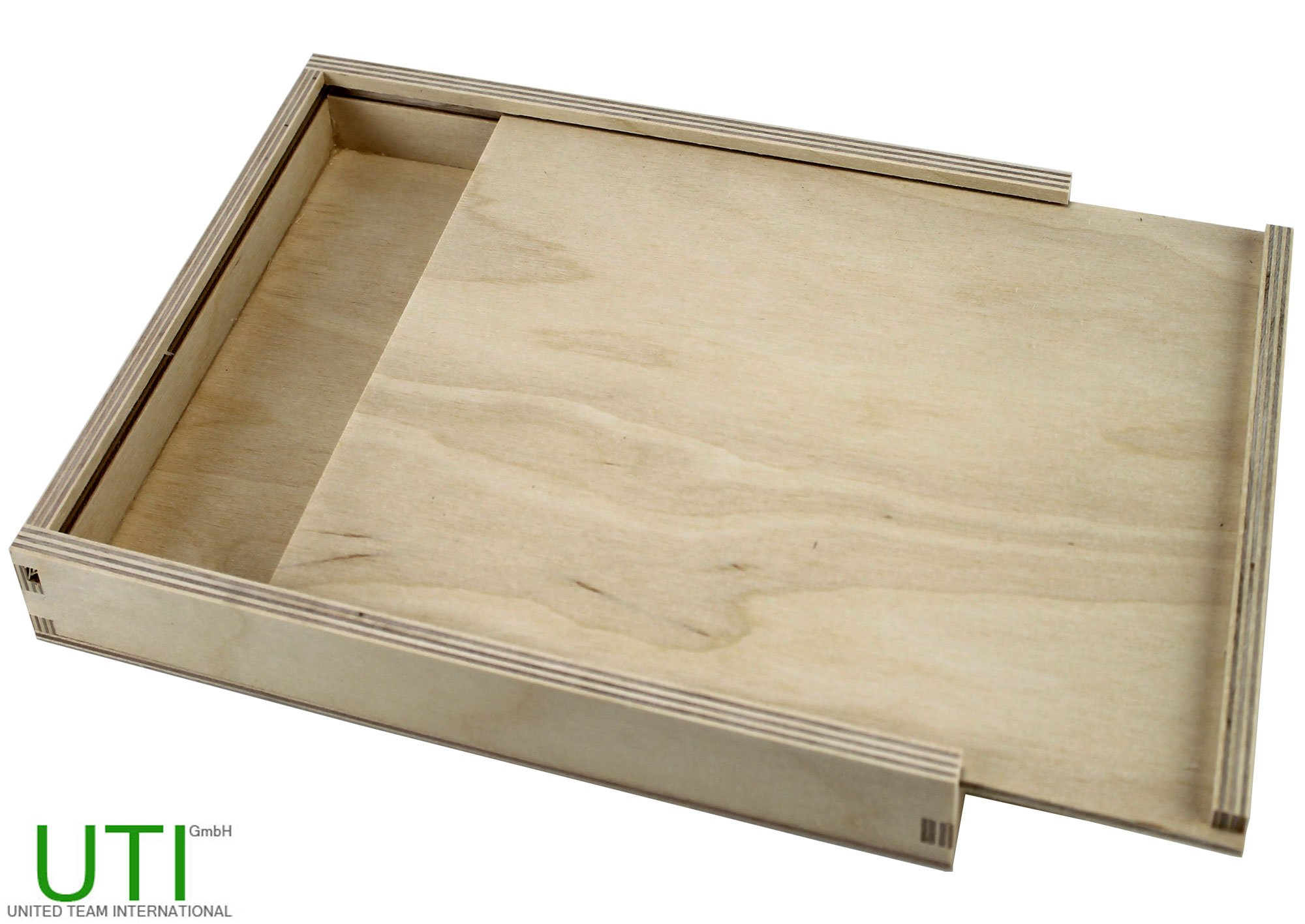 contrachapado Caja con tapa deslizante – Caja de madera caja joyero caja joyero: Amazon.es: Hogar