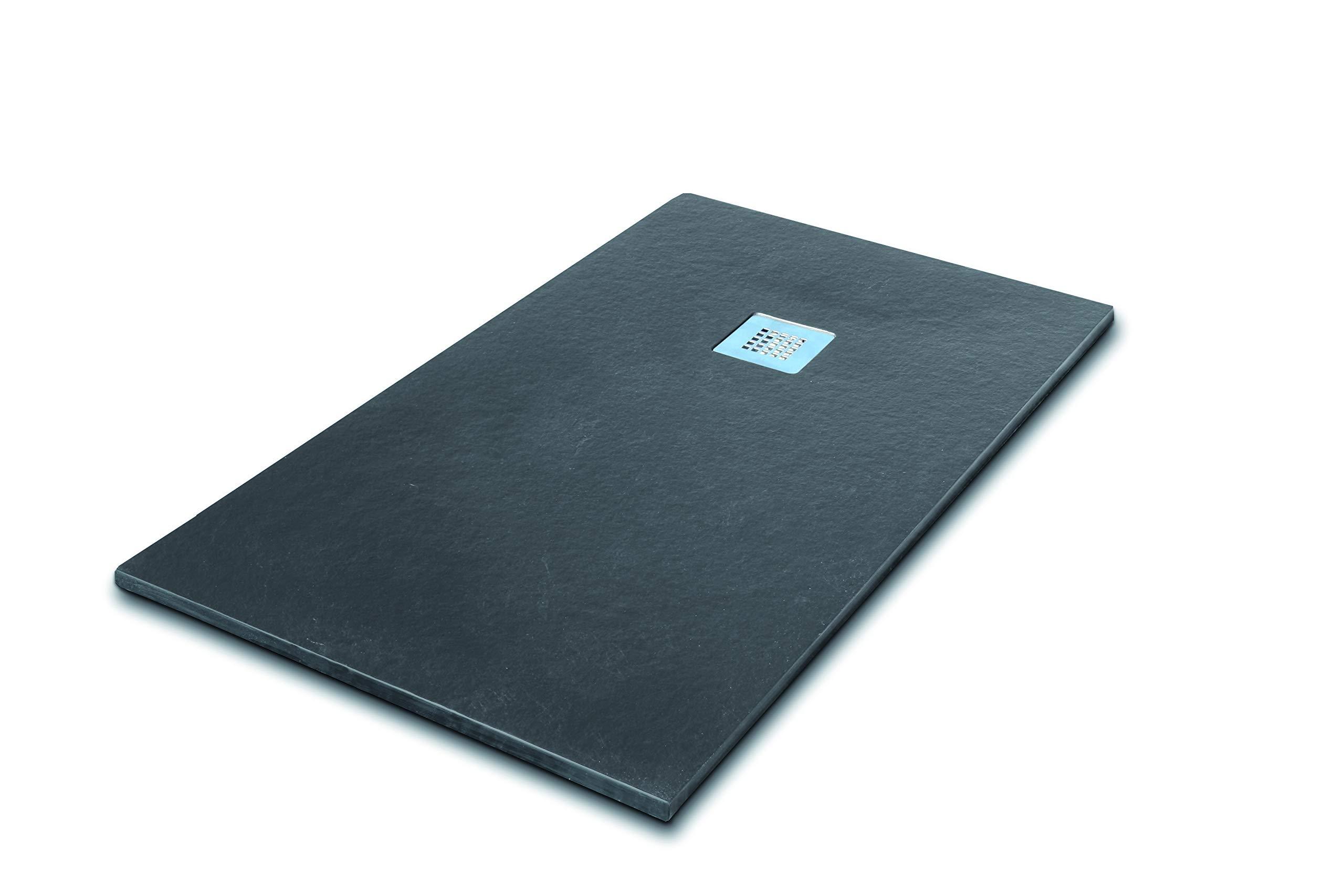 SEVIBAN - Modelo ALTAIR - Plato de Ducha de Resina con Carga Mineral - Textura Pizarra - Grafito Ral: 7016 (80 x 160): Amazon.es: Bricolaje y herramientas