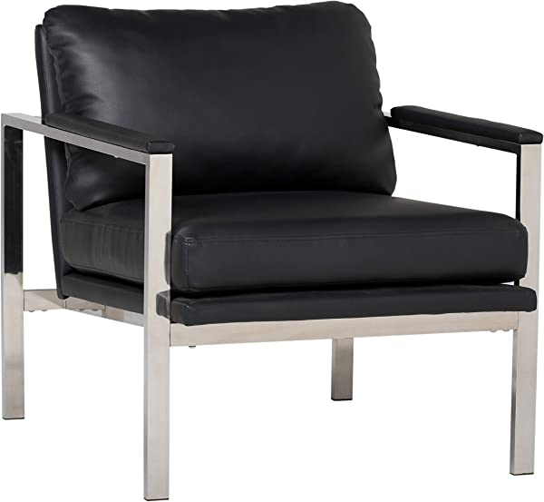 Studio Designs Home Lintel Modern Leather Arm Chair In Chrome Black 72029 28 W X 32 D X 33 H